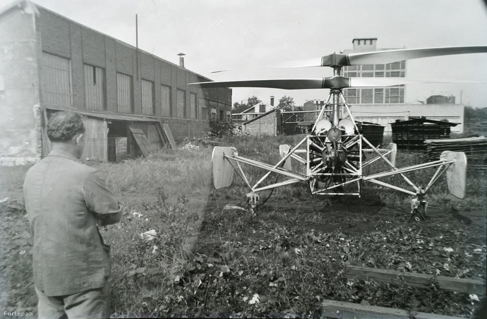 Asboth úgy próbálta stabilizálni gépét, hogy függőleges fémlemezeket helyezett el rajta.