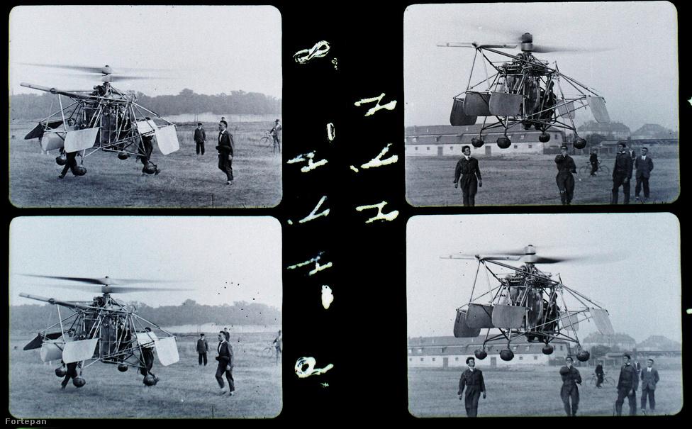 Egy tesztrepülés képkockái. Az erről megjelentetett fotókról ugyancsak leretusálták a tartókötelet, ráadásul a vonólégcsavart is.
