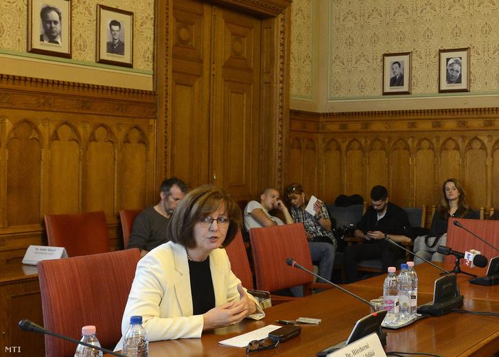 Marosi Ildikó, a Kúria bírája, alkotmánybíró-jelölt beszél meghallgatásán