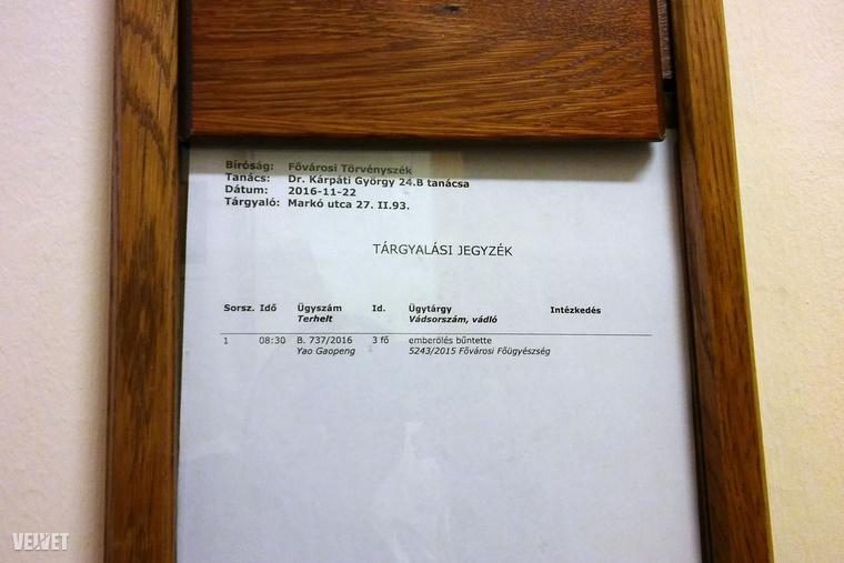 Tárgyalási jegyzék a Fővárosi Törvényszéken.