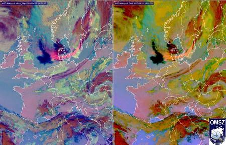 A hamufelhőről készült péntek reggeli műholdfelvétel. A bal oldali képen élénk rózsaszín, a job oldalin élénk naracs színnel látszik a felhő, Észak-Németország és Észak-Lengyelország felett. Forrás: Országos Meteorológiai Szolgálat (Kattintásra nagyobb verzióban is megnézhető)
