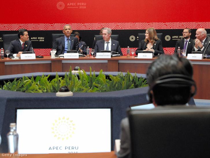 Az APEC országok vezetőinek tanácskozása Peruban, 2016. november 19-én.