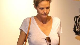 Heidi Klum melltartó nélkül, fehér pólóban ment vásárolgatni