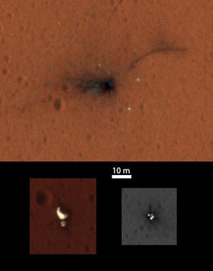 A zuhanás helye a Marson
