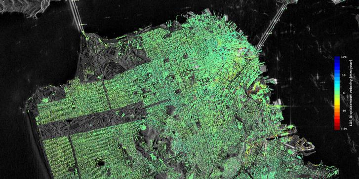 San Francisco belvárosának radarképe. A zöldtől eltérő színű területek mutatják a talaj süllyedését.