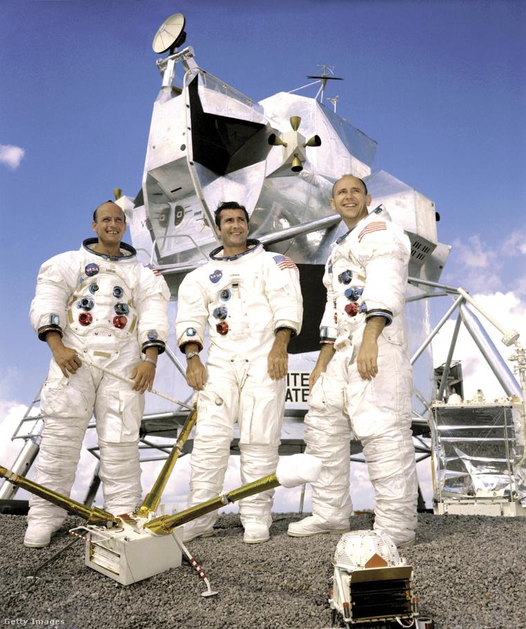 """Az Apollo-12 legénysége, Charles """"Pete"""" Conrad, Richard F. Gordon és Alan L. Bean."""