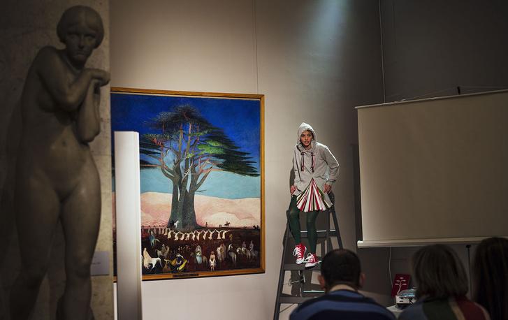Csontváry Kosztka Tivadar: Zarándoklat a cédrusokhoz Libanonban. Berniczky Éva szövegét létrán előadja: Stefanovics Angéla