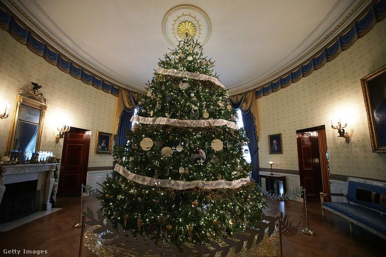 EZ ITT a Fehér Ház hivatalos karácsonyfája, de ez nem jelenti azt, hogy csak ez az egy fa lenne az egész épületben...