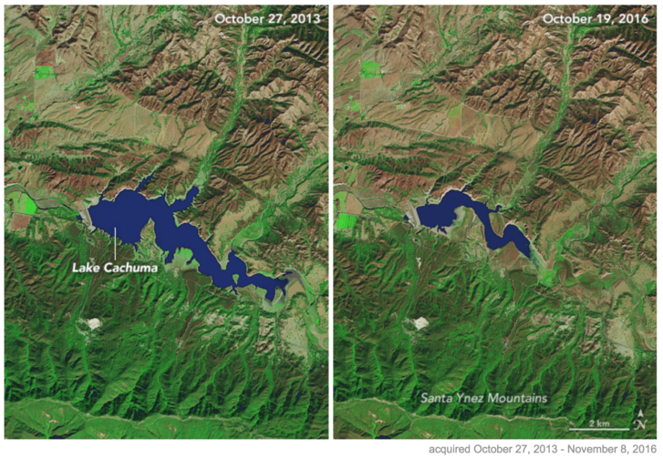 A szárazság hatása Kaliforniában NASA-műhold felvételein, három év elteltével