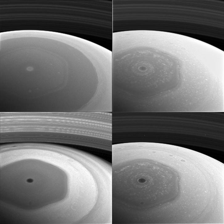 A Szaturnusz északi pólusa a jellegzetes, egyben rejtélyes hatszögű felhőrendszerrel. A hatszög egy-egy oldala kábé akkora, mint a Földünk átmérője. A négy fotó négy különböző spektrálszűrővel készült, amik a fény eltérő hullámhosszúságú tartományaiban érzékenyek, így a Szaturnusz felhőit és ködfoltjait eltérő szinteken tudják láttatni. A bal fölső kép ibolya, a mellette lévő vörös, a bal alsó infravörös közeli, a mellette lévő pedig infravörös tartományra érzékeny szűrővel készült.