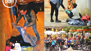 Nem a mannequin challenge miatt mozdulatlan a hajléktalan