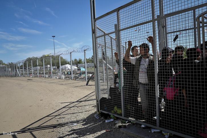 Menekültek várakoznak a kerítésnél a röszkei tranzitzóna bejáratánál 2016. április 18-án