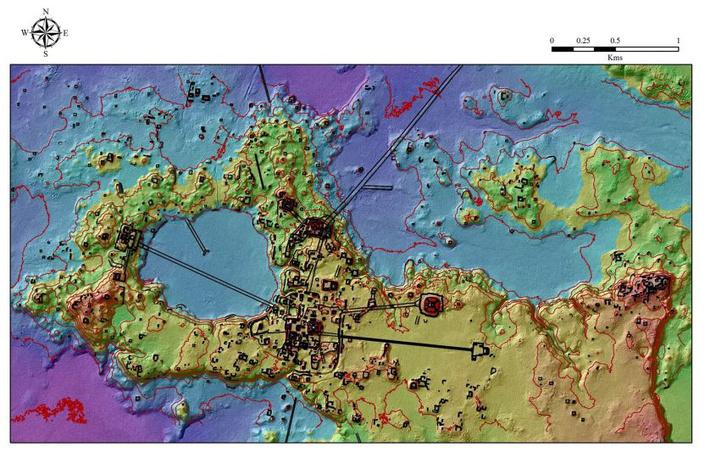 Az utakkal összekötött városok domborzati térképe