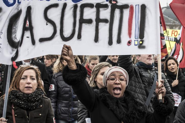 Dolgozói szakszervezetek tüntetnek Franciaországban (2016.)