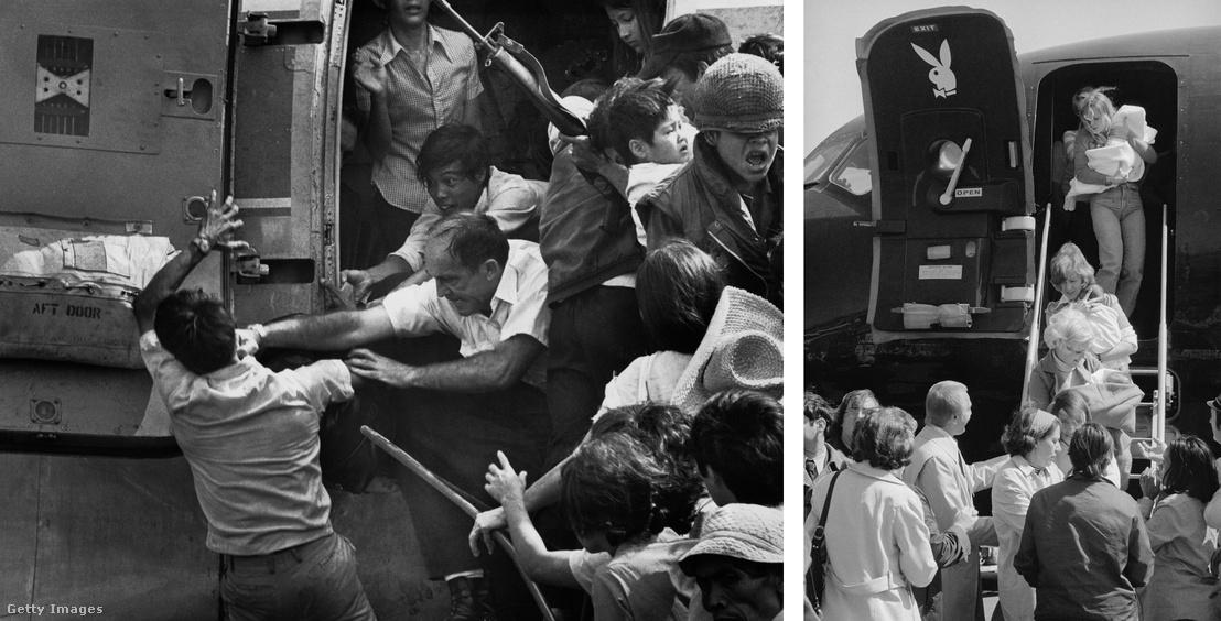 Balra: Amerikai tiszt üt le egy vietnami férfit, aki egy gyerekeket szállító helikopterre próbált felkapaszkodni. Jobbra: New Yorkban Playboy-modellek hordozzák a vietnamból kimenekített babákat egy jótékonysági akció keretében, amit a Playboy-vezér Hugh Hefner szervezett.