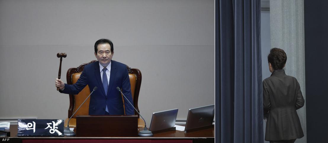 Balra: a koreai házelnök megindítja a szavazást a Pak Gunhje elnök elleni bizalmatlansági indítványról. Jobbra: Park Gunhje távozik beszéde után az elnöki Kék Házból.