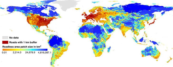 A felszabdalt területek nagyságának térképe