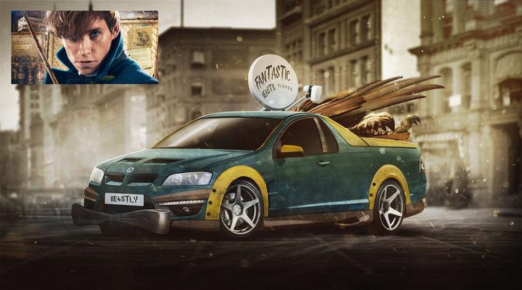 Ute Scamander - Newt Scamander (a magyarban Goethius Artemis Fido Salmander) és a Vauxhall Maloo Ute Forrás: carwow