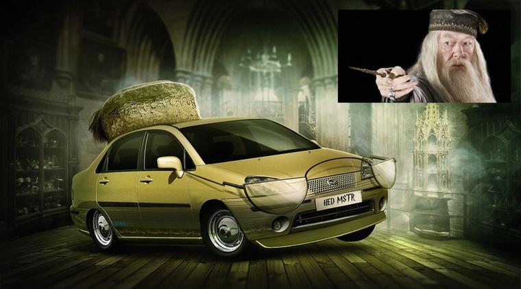 Dumble-four-door - Albus Dumbledore és a Suzuki Liana Forrás: carwow