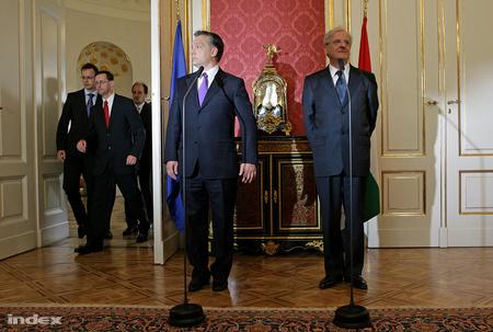 Sólyom a Sándor-palotában fogadta Orbán ViktortFotó: Huszti István