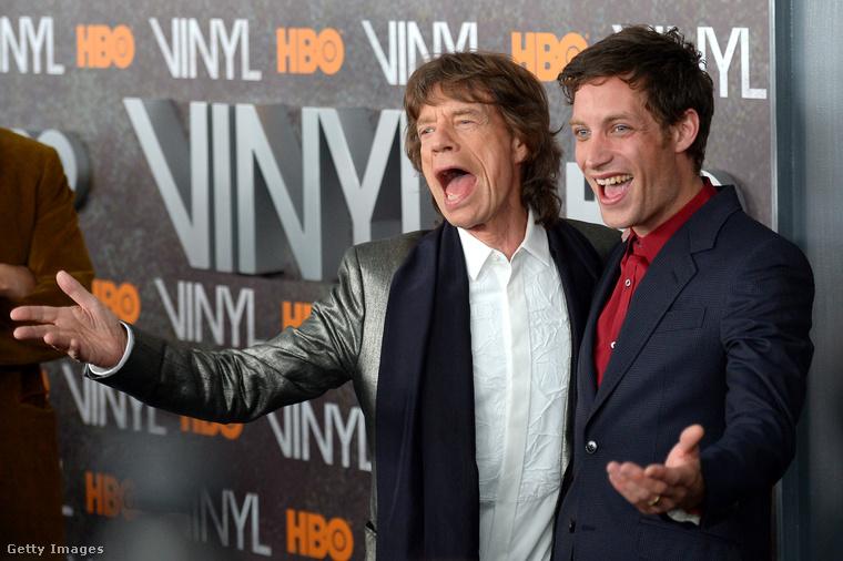 A brit énekes és fia, James a Vinyl című HBO-s tévéműsor premierjén