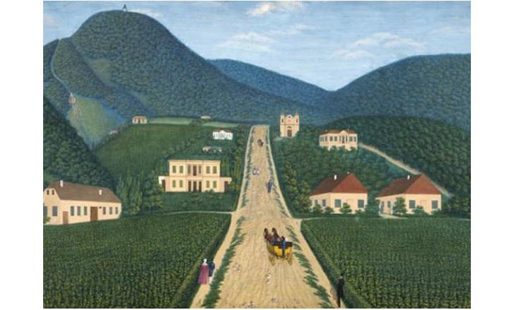 A Budakeszi út Buda felől nézve Liebrich 1846-os festményén. A háttérben az akkor még fából ácsolt János-hegyi kilátó. Az út baloldalán a kis fehér ház a Hild-villa. Előtte a nagyobb sárga az Ybl-villa. Az egyes épületekről itt olvashattok bővebben.