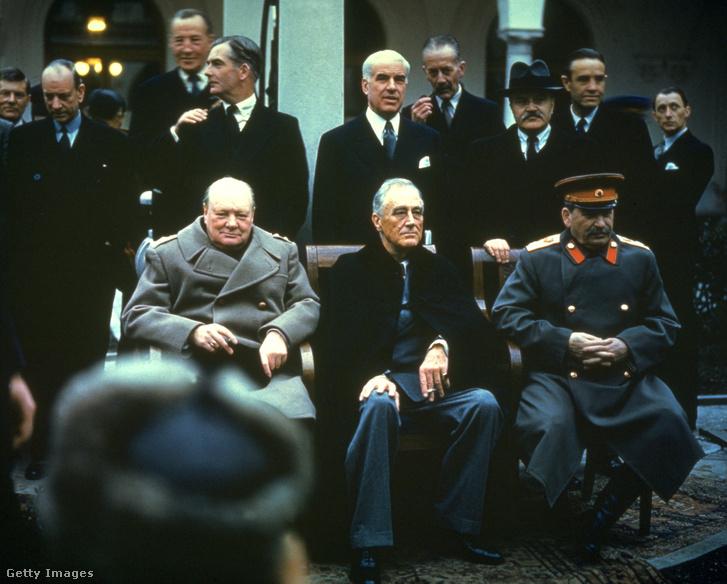 Churchill, Roosevelt és Sztálin Jaltán, 1945-ben