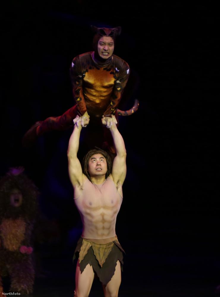 Ilyen döbbenet izmos Tarzan a már önmagában is borzasztó látványos a sanghaji Disneylandben.