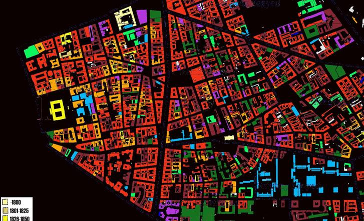 Józsefváros épületeinek kora. A teljes térképért kattints a képre!