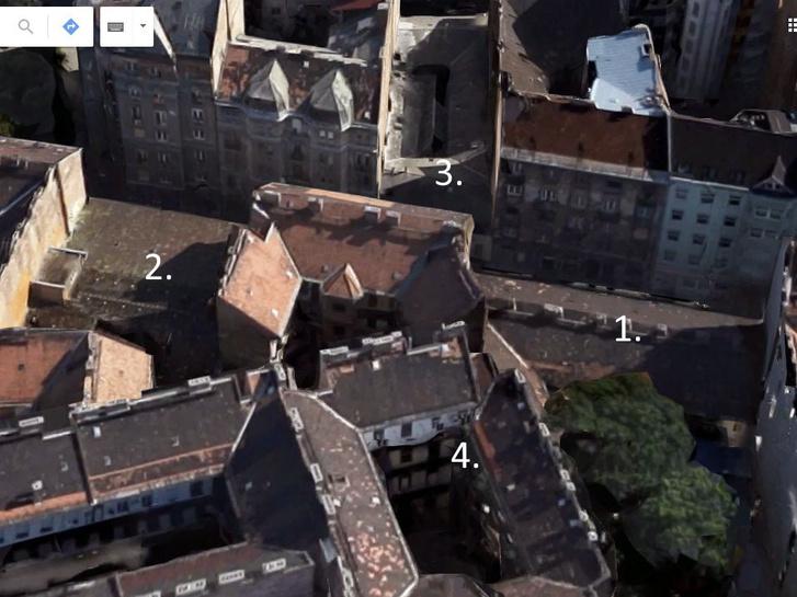 Az egykori Szuper8, vagyis a Kőfaragó utca 8. a bontás előtt (1.). A Vasas Művészegyüttes székháza (2.) még ma is áll, de a Bródy és a Kőfaragó utcát összekötő épületet (3.) azóta szintén hiába keresnénk. Jól látszik, hogy mennyivel kisebb a léptékük a környék többi, szintén legfeljebb 100 éves házához képest. A kép közepén levő minden oldalról zárt gangos udvar (4.) pl. a Somogyi Béla utca 17. számú házhoz tartozik – ami egyszerűen csak azért alakult így, mert 2-300 évvel ezelőtt így sikerült felosztani a telkeket.