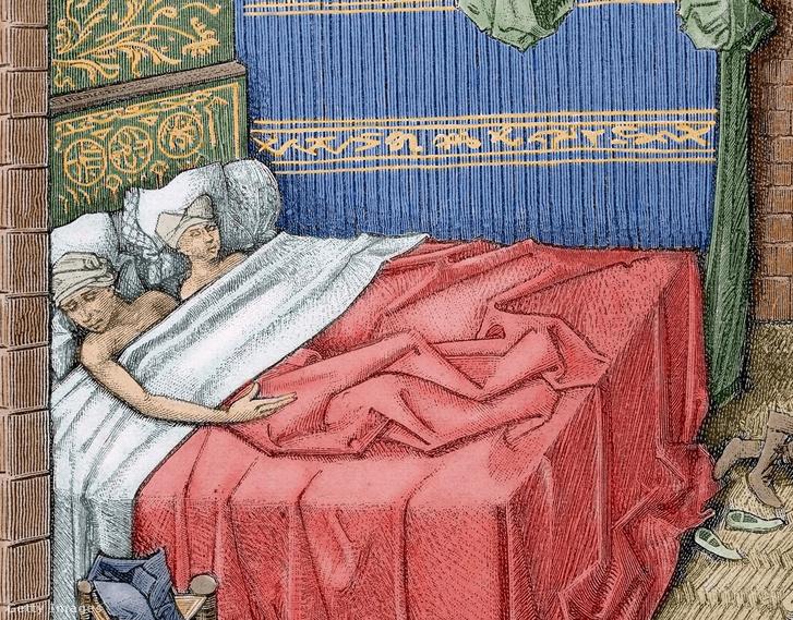 15. századi francia pára hitvesi ágyban