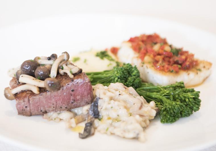 A steak és a hal egy másik szögből, gombás rizottóval