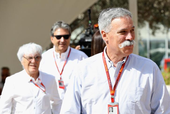 Az F1 új főnöke, Chase Carey, háttérben a régi, Bernie Ecclestone