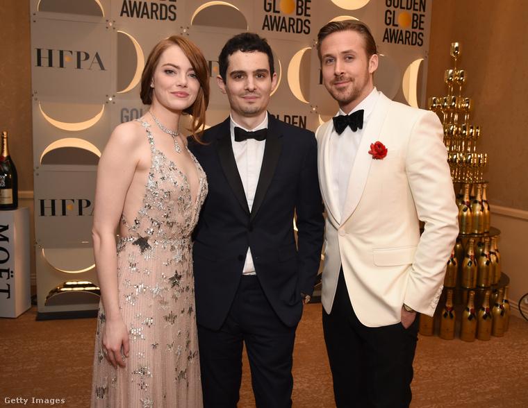 Emma Stone, a film rendezője Damien Chazelle, és Ryan Gosling