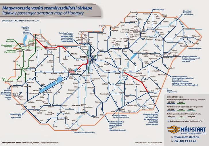 A MÁV-START vonalhálózata, pirossal a 160 km/h-ra alkalmas pályaszakasszal