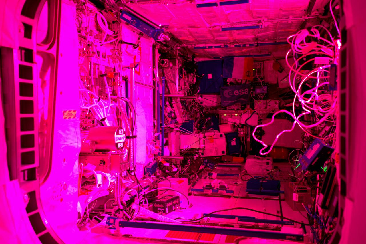 Az Európai Űrügynökség Colombus modulja éjjel. A különleges fény az itt termesztett növények növekedéséhez szükséges.