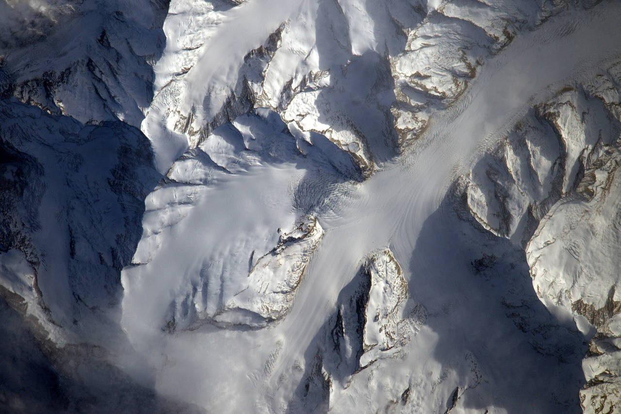 A 23 kilométer hosszú Aletsch gleccser kezdete a svájci Alpokban.