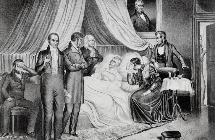William Henry Harrison a halálos ágyán, 1841. április 4-én
