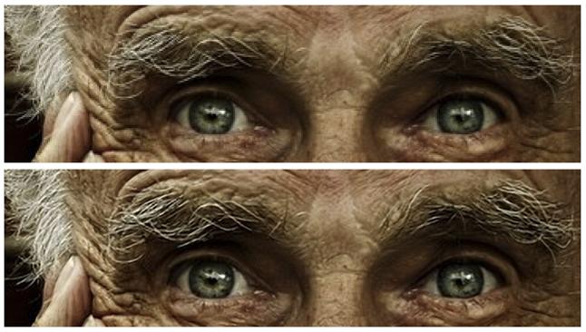 A férfi körménél nagyon jól látszik, hogyan tűntek el a szögletes pixelek. A felső kép az eredeti, az alsó a feljavított.