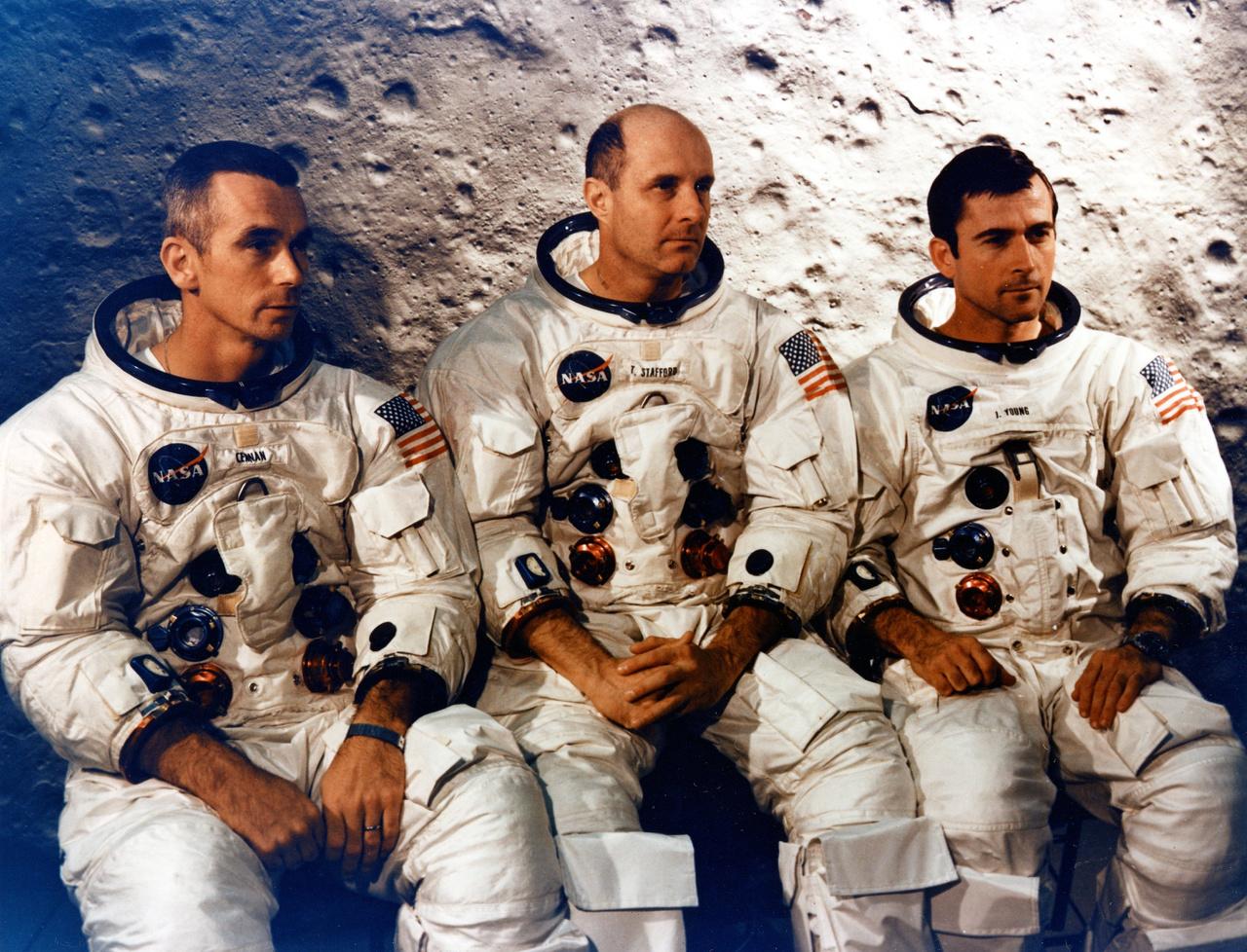Az Apollo-10 küldetés három tagja: Cernan, Stafford és Young.