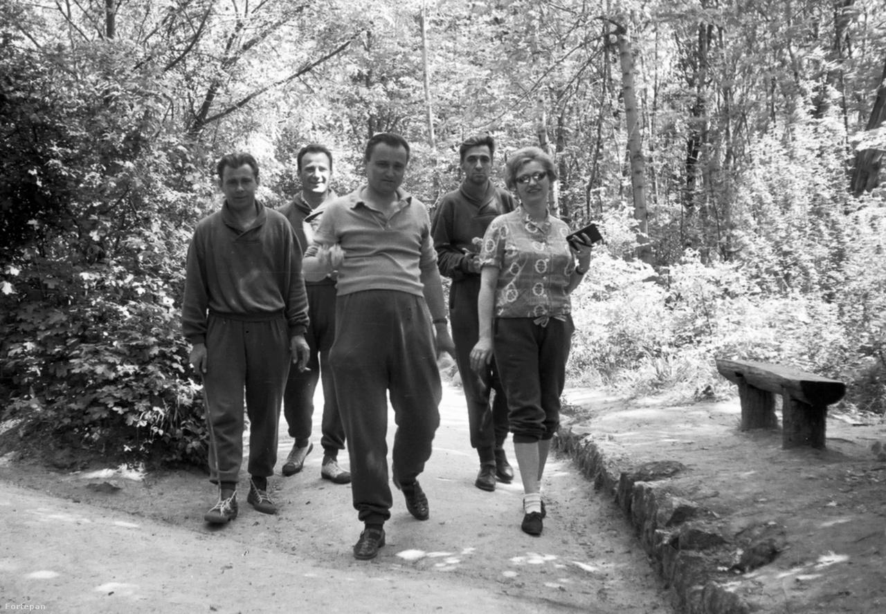 """A BM-szanatórium betegei egészségügyi sétájukat végzik a Budakeszi úton a hatvanas évekbenA természetjárást azért nemcsak receptre írta az orvos. Egyre többen voltak a századforduló óta, akik kedvtelésből töltötték idejüket a szabadban. Hogy milyen a modern természetjáró, arról 1964-ben szemléletváltást sürgető társadalmi vita zajlott a Képes Sport hasábján: """"Mindenkinek tudomásul kell vennie, hogy a szabad természetet kerékpáron, motoron (sőt akár gépkocsin), csónakon, vitorláson, sítalpon éppen olyan sportszerűen lehet """"járni"""", mint gyalogosan-botosan. Továbbá az sem maradhat íratlan törvény, hogy csakis az a természetjáró, aki jól megpakolt tarisznyát hord a hátán, minden úton bakancsban caplat, ha már nem sátorban, hát a turistaház padlásán alszik és reggel okvetlenül forrásvízben mosdik."""""""