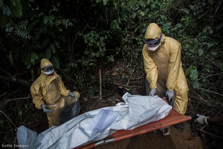 Lasse-láz áldozatát viszik temetni védőruhás egészségügyi dolgozók Sierra Leonéban, 2014-ben