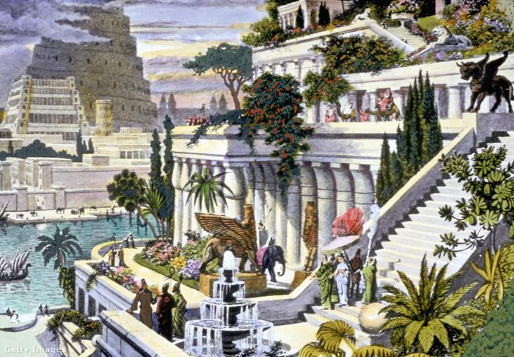 Szemiramisz függőkertje, a túlparton a város másik fele, a babiloni toronnyal