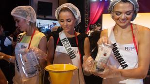 Hajhálóban küzdenek az éhezés ellen a Miss Universe-lányok