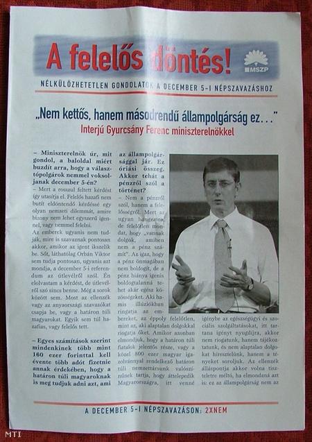 2004. november 17. A Magyar Szocialista Párt kiadványa, amely a NEM-szavazatra buzdít a december 5-ére kiírt, a határon túli magyarok kettős állampolgárságára vonatkozó népszavazással kapcsolatban