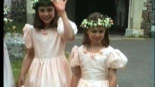 Katalin hercegné és húga egy régi esküvői felvételről mosolyog ma ránk