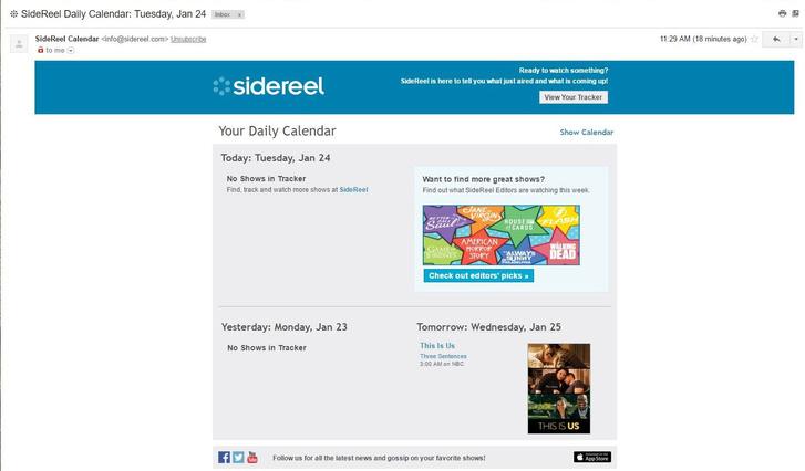 Így néz ki egy értesítő email, ha új rész van a láthatáron.