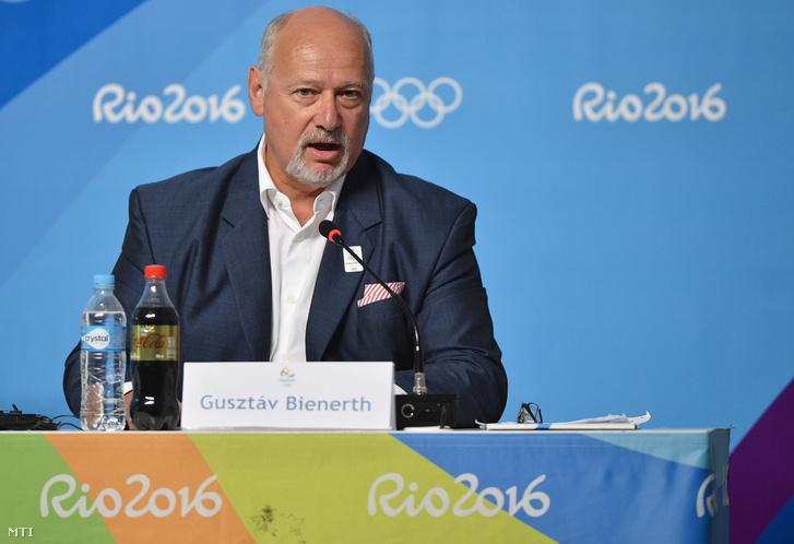 Bienerth Gusztáv turizmusért felelős kormánybiztos a budapesti olimpiai és paralimpiai pályázatról tartott nemzetközi sajtótájékoztatón a Rio de Janeiró-i Olimpiai Parkban 2016. augusztus 16-án.
