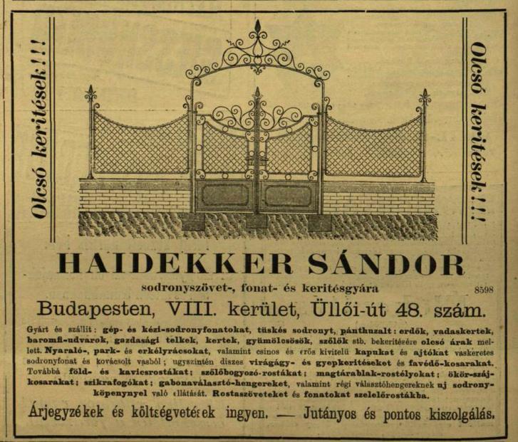 Hirdetés a Vasárnapi Újságban, 1900-ból