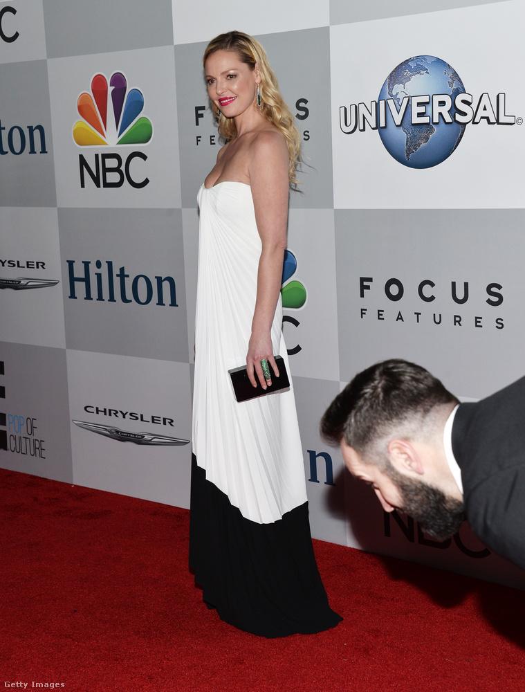 Itt például Katherine Heigl vörös szőnyeges felvonulásába a színésznő férje, Josh Kelley hajolt bele